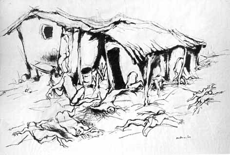 "Mslaba DUMILE - FENI ""The stricken household"", 1965 - charcoal"