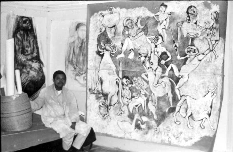 "Dumile working on his major work ""African Guernica, 1967"""