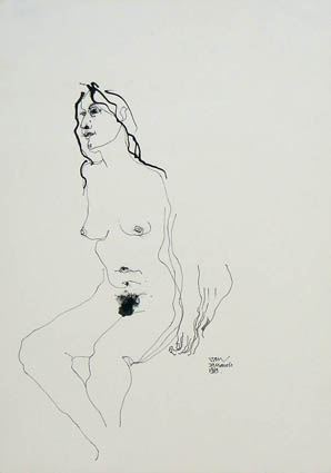 "Jan HEYNIKE ""Seated nude woman"", 1969 - pen & ink drawing - 35.7x25.5 cm (PELMAMA)"